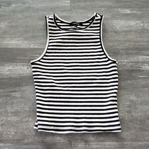 Black White Striped Ambiance Cropped High Neck